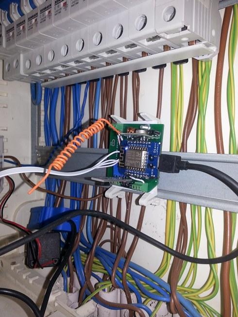 ESPproMon Smart Meter Bridge deep inside Consumer Unit 490 X 653